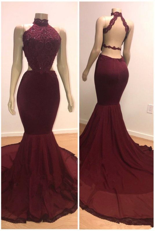Gorgeous Burgundy Lace Prom Dresses | 2020 Sleeveless Long Evening Gowns