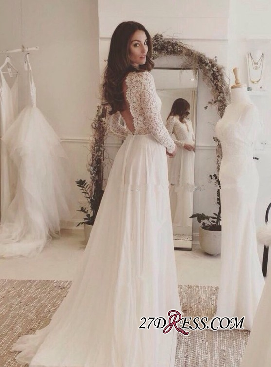 Long-Sleeves Sexy 2020 Chiffon V-neck Lace Wedding Dress BA4172