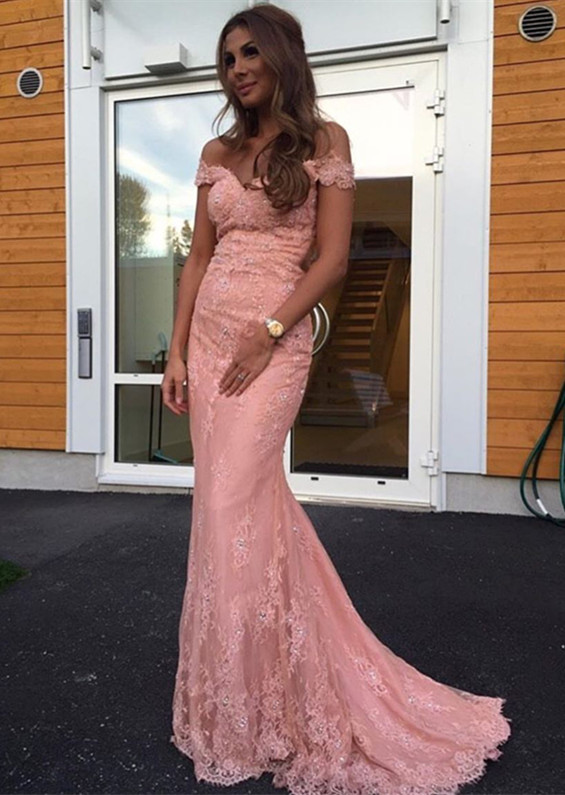 Glamorous Off-the-Shoulder Mermaid Lace 2020 Evening Dress On Sale