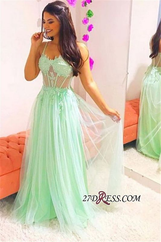 Elegant Spaghetti-Straps Sheer Tulle Prom Dress | Sexy Sleeveless A-Line Evening Gown