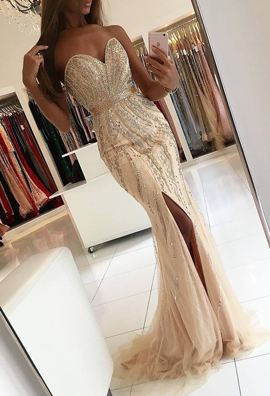 Gorgeous Sweetheart 2020 Evening Dress Mermaid Front Split With Beadings BA9009