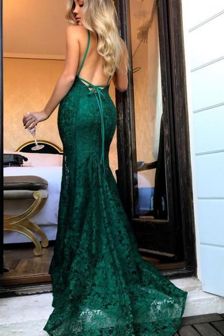 Green lace prom dress, 2020 mermaid evening gowns
