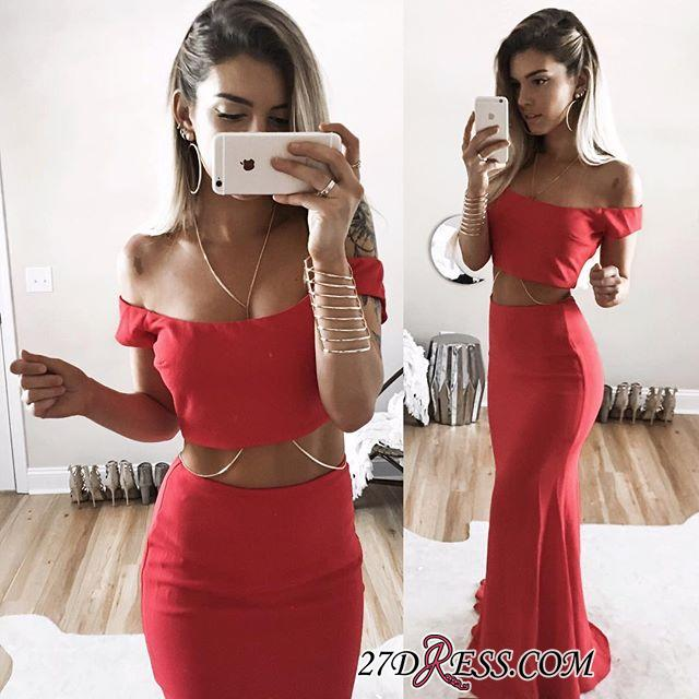 Sexy Mermaid Long Red Two-Piece Off-Shoulder 2020 Prom Dress SP0283
