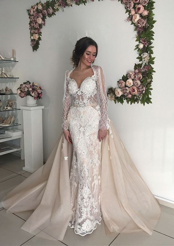 Beautiful Long Sleeve V-Neck Wedding Dresses | 2020 Mermaid Overskirt Bridal Gowns On Sale