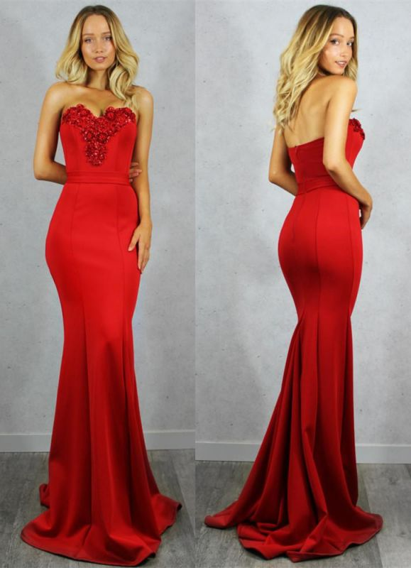 Gorgeous Sweetheart Red Evening Gowns | 2020 Mermaid Zipper Prom Gowns On Sale
