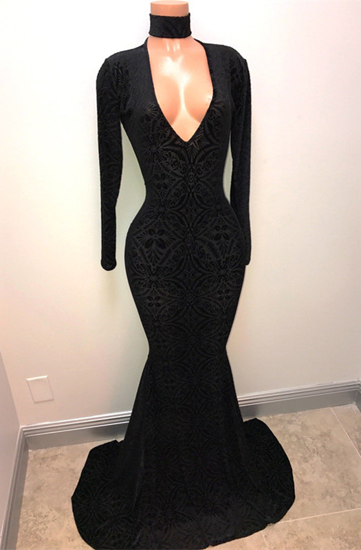 Black Lace V-Neck Prom Dress | 2020 Mermaid Long-Sleeve Evening Gowns BA8512