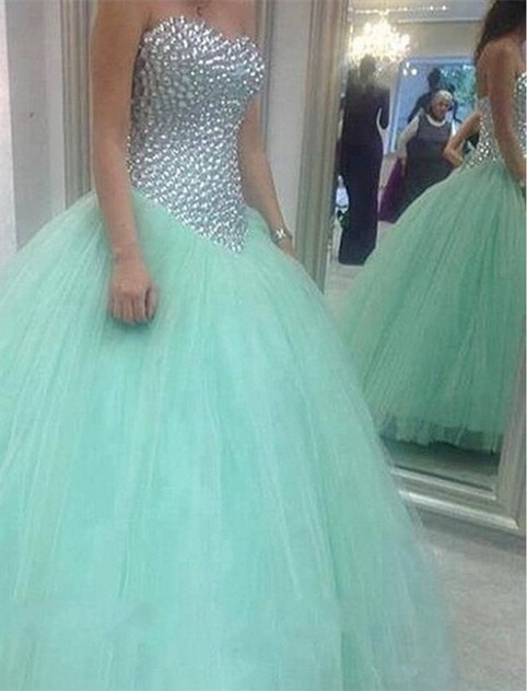 Glamorous Sweetheart Mint Green 2020 Wedding Dresses Crystal Tulle Ball Gown Prom Gowns