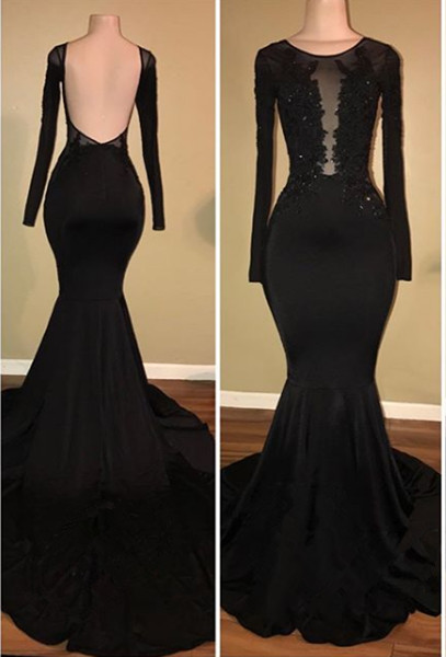 Sexy Black Mermaid 2020 Prom Dress Long Sleeve With Lace Appliques BA7880