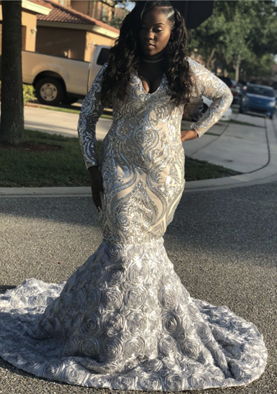 Silver Sequins Prom Dress | 2020 Long Sleeve Evening Gowns With Flowers Bottom BK0 BA9148