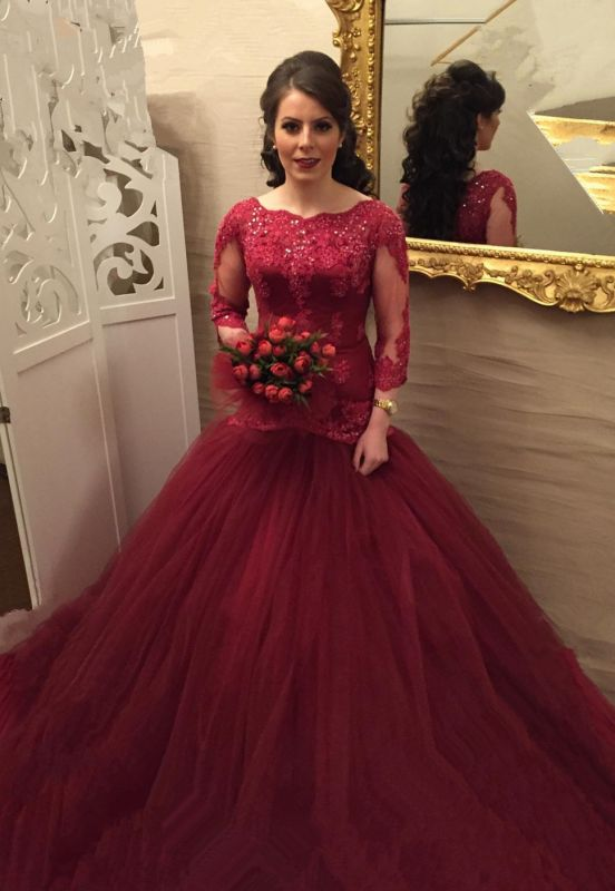 Modern Lace Red Mermaid Evening Gown   Long Sleeve Evening Dress