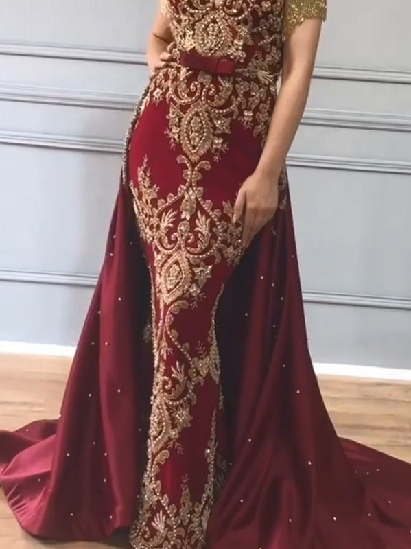 Luxury Over Skirt Mermaid Prom Dresses | V-Neck Tassel Sleeves Gold Appliques Evening Gowns BC0705