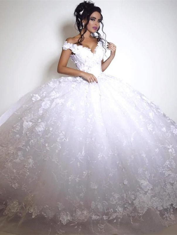 Glamorous Off-the-shoulder 2020 Wedding Dress Ball Gown tulle Appliques White