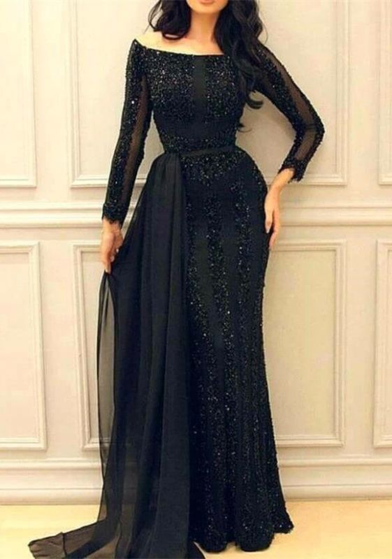Sexy Black Long Sleeve Prom Dresses | 2020 Mermaid Sequins Evening Gowns