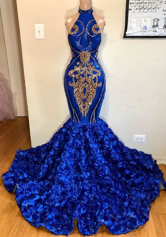 Gorgeous Sleeveless Royal Blue Prom Dresses | 2020 Mermaid Flowers Long Evening Gowns BC1213