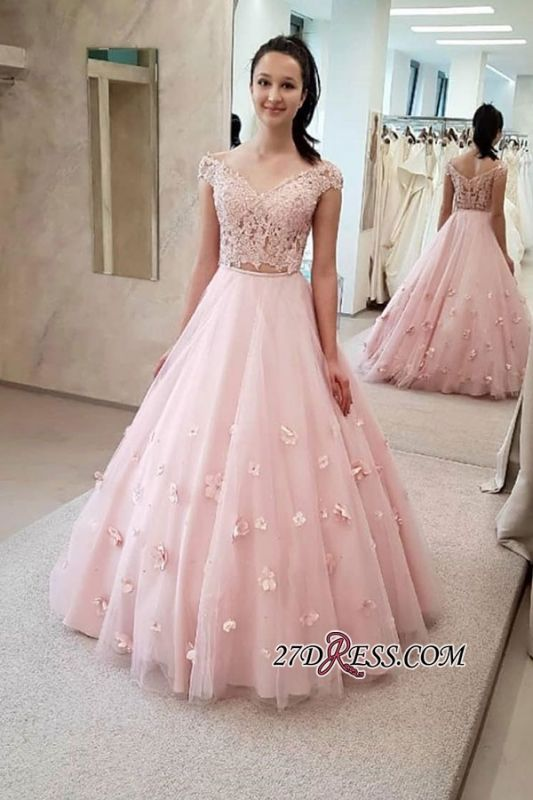 Floor-length Two-pieces Flower A-line Long Graceful Prom Dresses