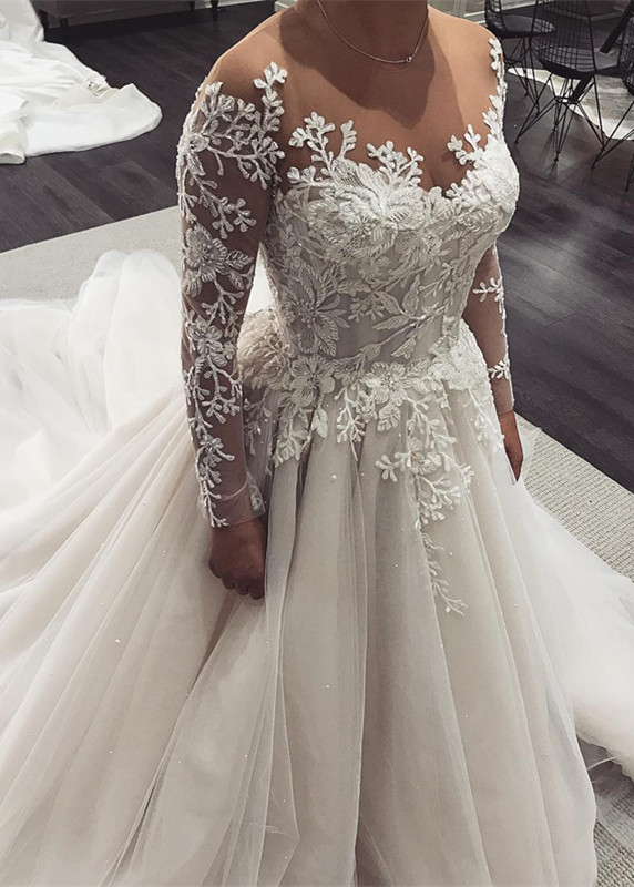 Long-Sleeve Wedding Dress   2020 Tulle Bridal Gowns With Appliques
