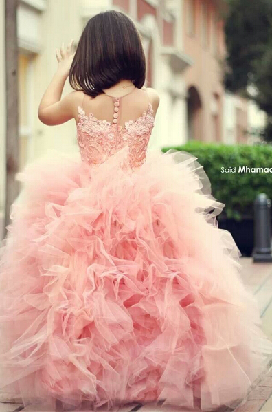 New Pink Chic Ruffles Flower Girl Dresses 2020 Ball Gown Sleeveless Formal Party Gowns