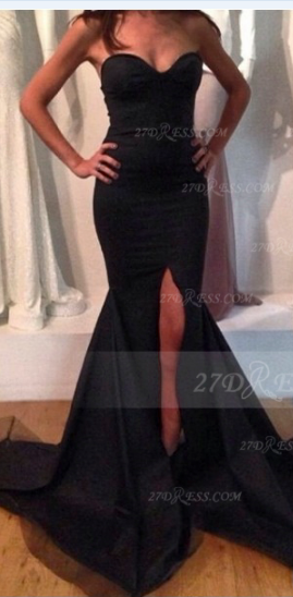 Sweetheart Black Prom Dress with Slit Satin Mermaid Gown Sweep Train Evening 2020 Side