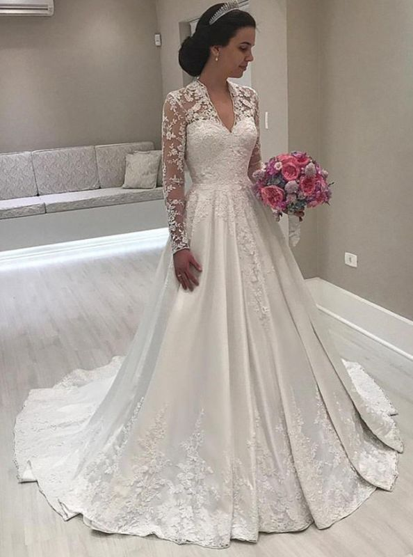 Princess Long Sleeve V-Neck Wedding Dress | 2020 Lace Bridal Gowns On Sale