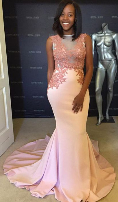 Pink evening party dress, lace mermaid prom dress