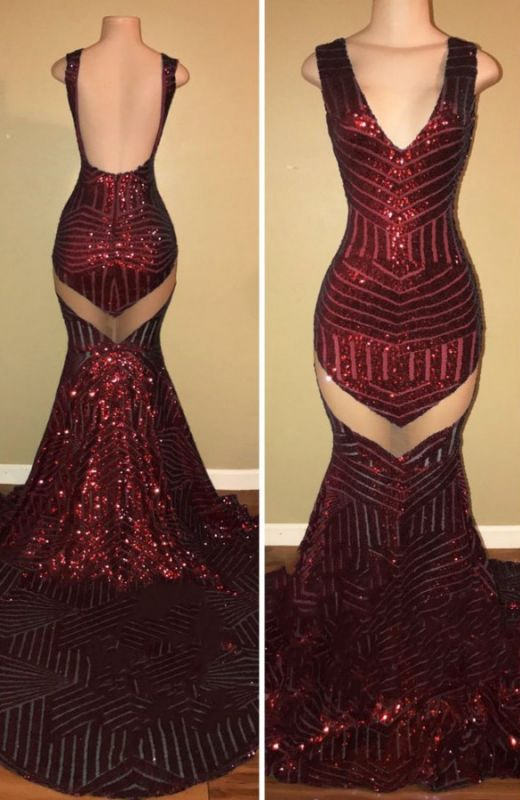 V-Neck Sequins 2020 Prom Dress | Mermaid Evening Gowns On Sale BA8438