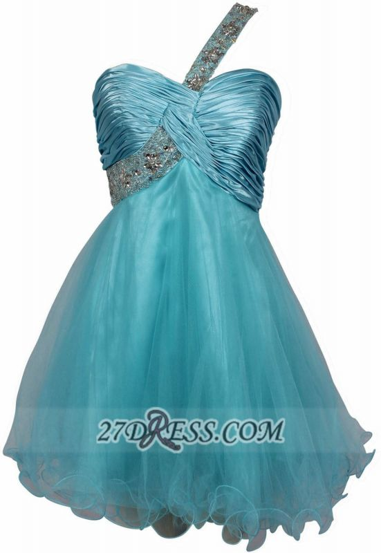 Sexy One-shoulder Sleeveless Short Homecoming Dress With Beadings And Crystals