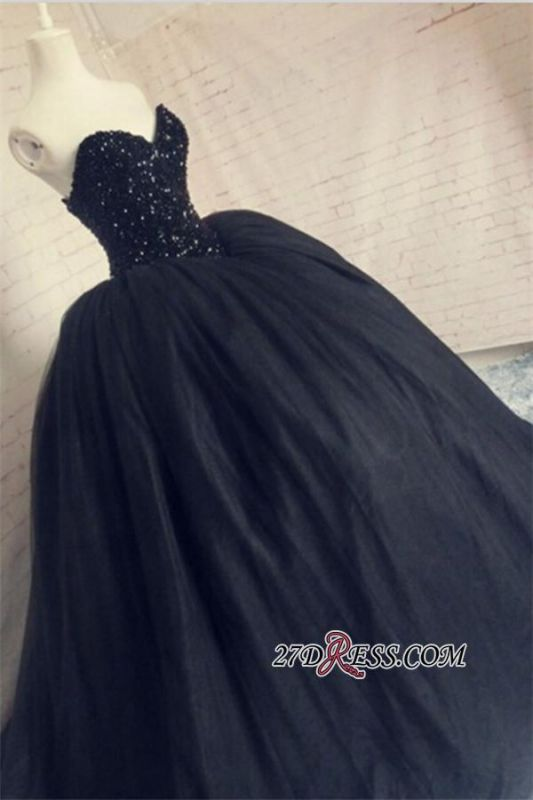 Puffy Beaded Sequins Corset Sparkly Black Amazing Tulle Sweetheart Prom Dress