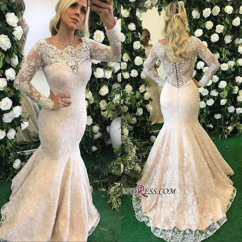 Long-Sleeve Floor-Length Stunning Mermaid Lace Appliques Evening Dress BMT BA6805