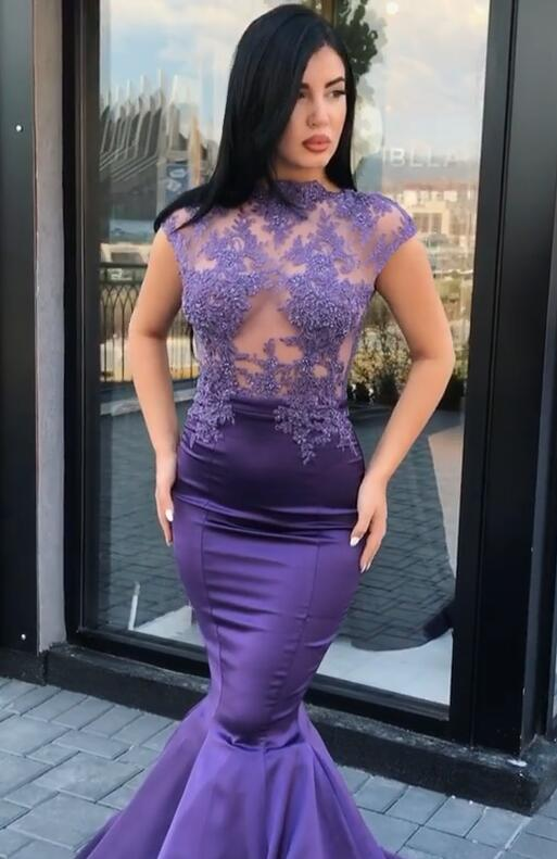 Gorgeous Cap Sleeve Purple Prom Dresses | 2020 Mermaid Lace Appliques Evening Gowns On Sale