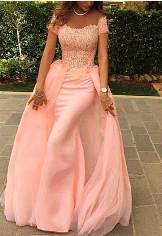 Gorgeous Short Sleeve Lace Prom Dresses | 2020 Overskirt Evening Gowns On Sale
