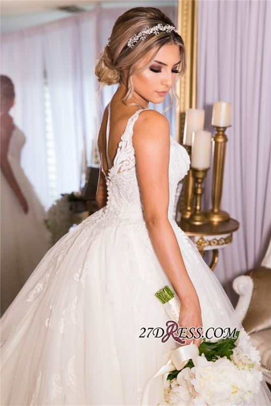 Beading Applique Gorgeous Strap A-Line V-neck Wedding Dress