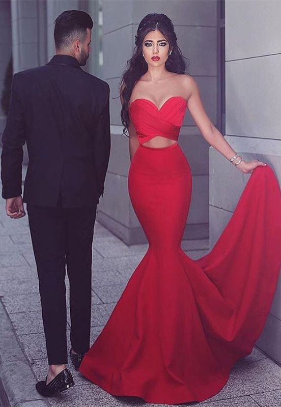 Sexy Red 2020 Mermaid Evening Dress Sweetheart Long MH204