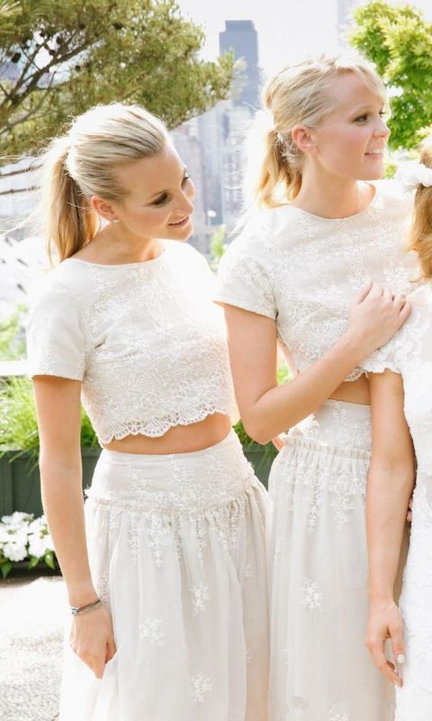 Modern White Two Piece A-line 2020 Bridesmaid Dress Lace Short Sleeve Jewel