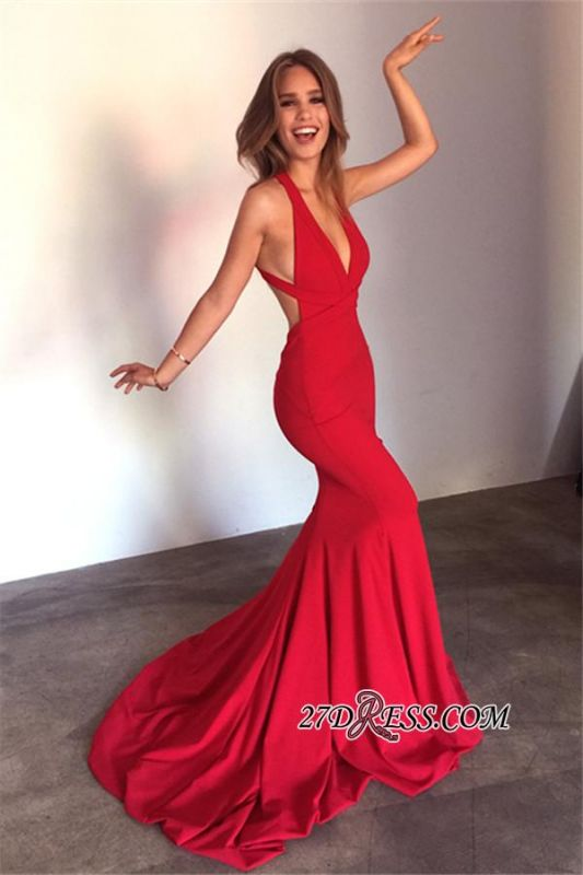 Deep-V-Neck Sexy Mermaid Open-Back Red Sleeveless Prom Dress qq0289