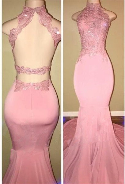 Gorgeous High Neck Pink Lace 2108 Prom Dress Mermaid Long On Sale BA7748