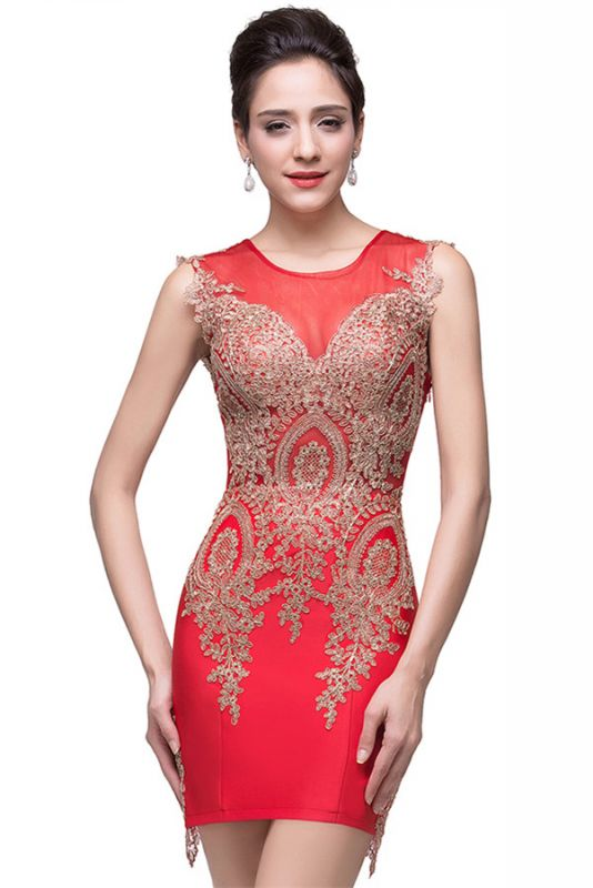 Sexy Red Golden Appliques Sheath Homecoming Dress Sleeveless