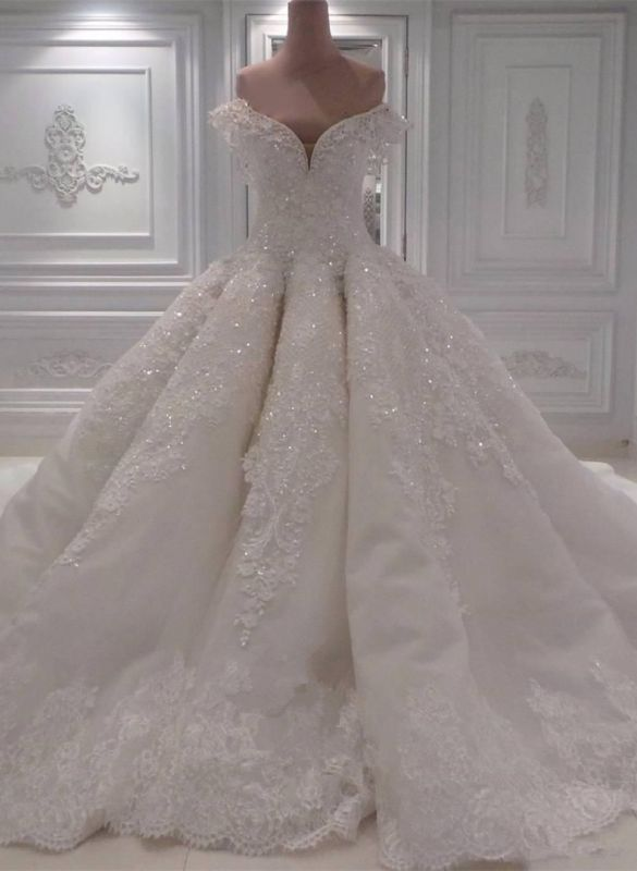 Glamorous Off-the-Shoulder Lace Wedding Dress | Ball Gown Sequins Bridal Gowns BC0094