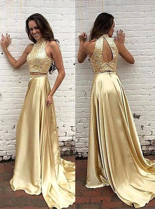 Glamorous High-Neck two Pieces 2020 Prom Dress Beads