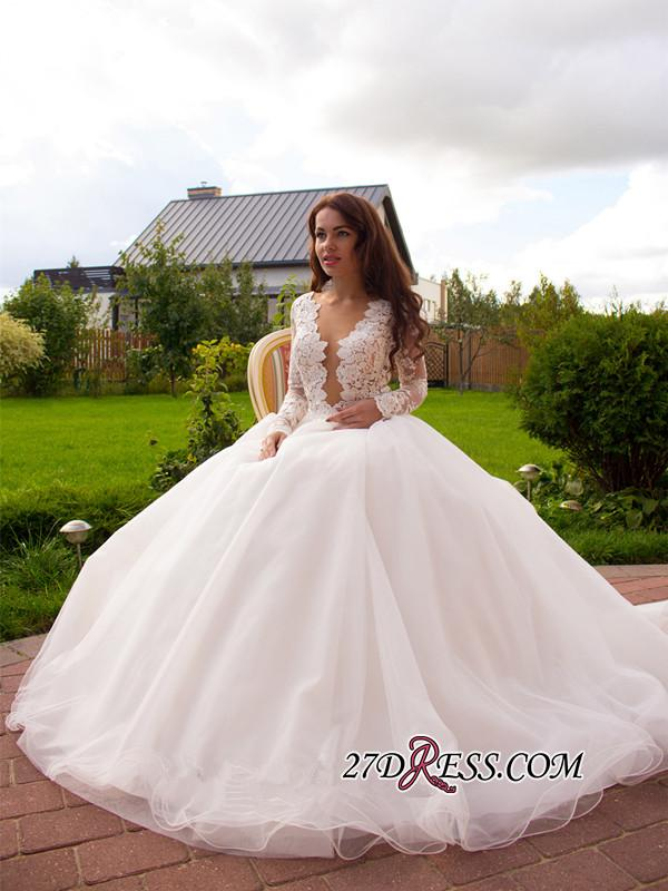 2020 Button Tulle Glamorous Princess Long-Sleeve Lace Zipper Wedding Dress