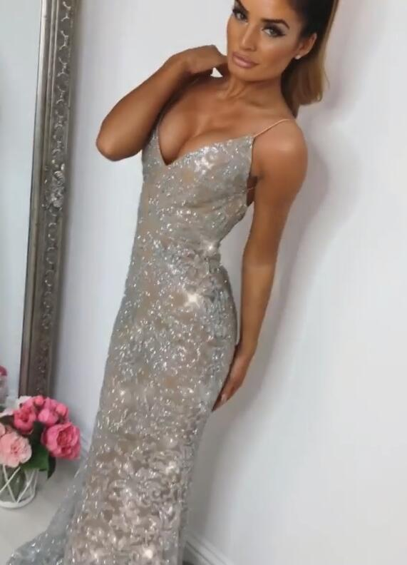 Shiny Sequins Mermaid Prom Dresses | Spaghetti Straps Lace Appliques Evening Dresses BC0910