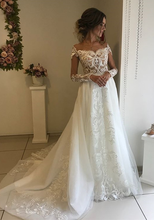 Glamorous Long Sleeve Wedding Dresses   2020 Lace Bridal Gowns Online