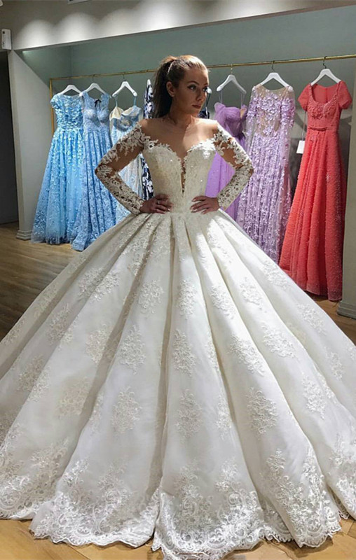 Gorgeous Long Sleeve Wedding Dress | 2020 Lace Ball Gown Bridal Gowns BC0811