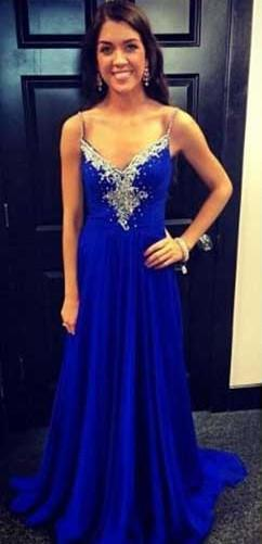 Crystal Long A-Line Royal-Blue Sleeveless Spaghetti-Strap Evening Dresses