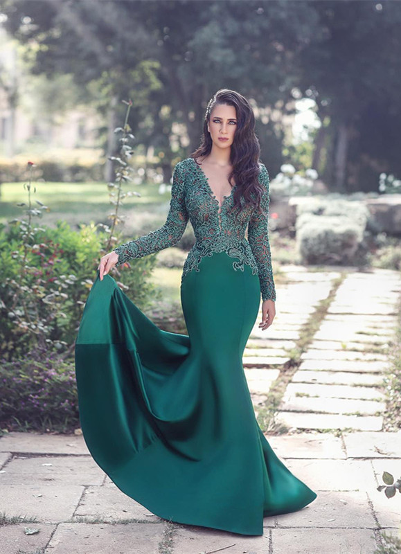 Glamorous Long Sleeve 2020 Evening Dress Mermaid With Appliques MH0
