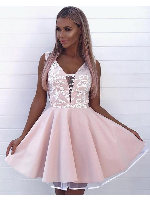 Newest Lace Straps Pink Homecoming Dress | Short Sleeveless Party Gown