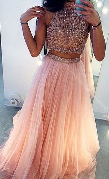 Glamrous High Neck Beadings Prom Dress 2020 Two Pieces Style BA3656