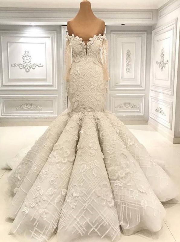Luxurious Long Sleeve Mermaid Wedding Dress | Lace Appliques Bridal Gown On Sale BC1495