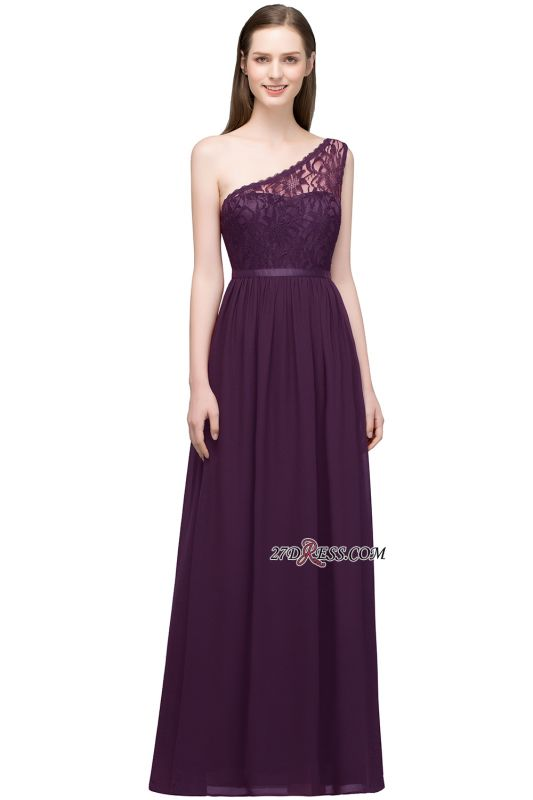 One-shoulder Floor A-line Chiffon Lace Length Bridesmaid Dresses