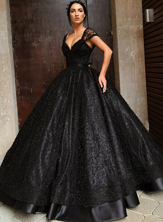 Sexy Black Cap Sleeve 2020 Evening Gowns | Ball Gown Beadings Long Prom Dresses