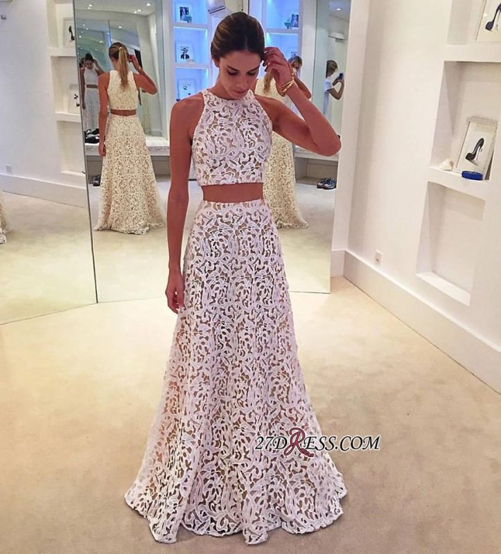 2020 Lace Sleeveless Simple A-line White Two-Pieces Prom Dress BA4820